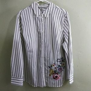 Striped Cotton Shirt with Embroidery Accents 2X